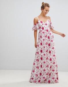 Кружевное платье макси с принтом Little Mistress - Мульти