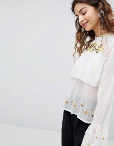 Ярусная блузка с вышивкой Miss Selfridge - Мульти