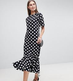 Платье макси в горошек с оборкой ASOS TALL - Мульти