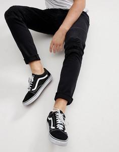 Рваные байкерские джинсы скинни Only & Sons - Черный