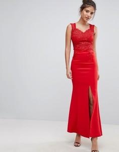 Облегающее платье с цветочной вышивкой Lipsy - Красный