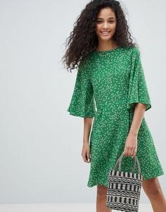 Чайное платье с цветочным принтом Nobodys Child - Зеленый
