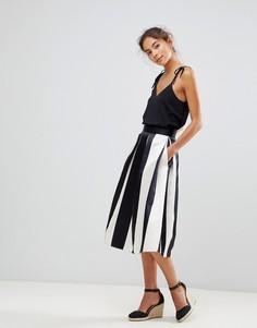 Сатиновая юбка миди для выпускного в полоску Closet London - Мульти