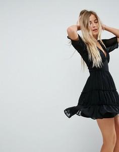 Мягкое ярусное платье мини ASOS - Черный