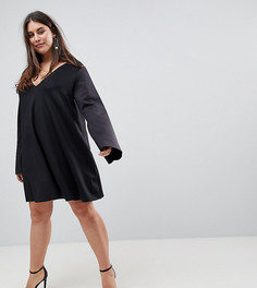 Свободное платье с разрезами на рукавах ASOS CURVE - Черный