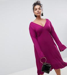 Чайное платье миди с оборками ASOS CURVE - Фиолетовый