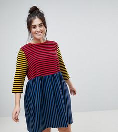 Свободное платье мини в полоску ASOS CURVE - Мульти