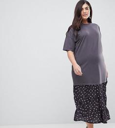 Платье-футболка макси со вставкой ASOS CURVE - Мульти