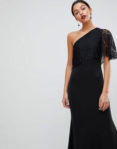Платье макси на одно плечо с кружевным верхним слоем Club L - Бежевый