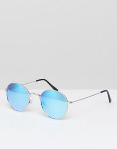 Солнцезащитные очки-авиаторы в металлической оправе River Island - Серебряный
