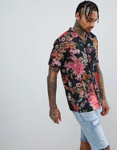 Облегающая рубашка с цветочным принтом Jaded London - Черный
