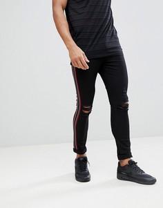 Черные состаренные облегающие джинсы с полосками по бокам Jaded London - Черный