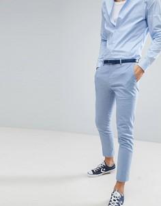 Голубые льняные брюки River Island Wedding - Синий