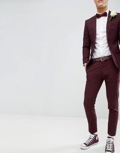 Бордовые облегающие брюки River Island Wedding - Красный