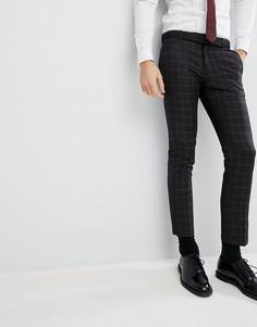 Черные зауженные брюки под смокинг в клетку River Island Wedding - Черный