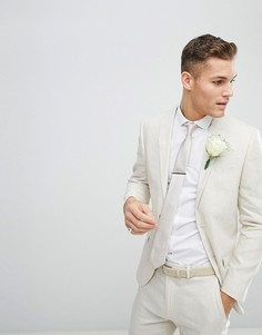 Зауженный льняной пиджак River Island Wedding - Кремовый