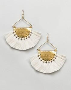 Золотистые серьги-кольца с кисточками Glamorous - Кремовый