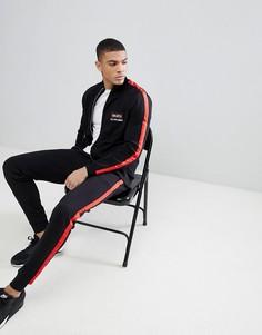 Спортивный костюм с полосками по бокам и вышивкой ASOS - Черный
