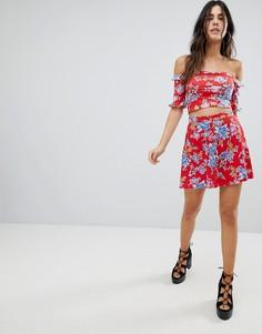 Мини-юбка от комплекта с цветочным принтом в винтажном стиле Motel - Мульти