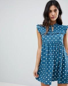 Чайное платье в горошек без рукавов Motel - Синий
