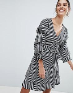 Платье в полоску с запахом Vila - Мульти