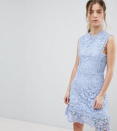 Кружевное платье миди с отделкой Boohoo Petite - Синий