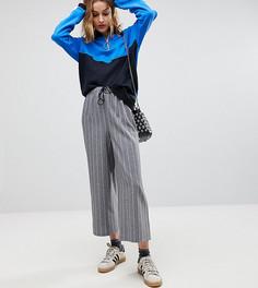 Брюки в полоску с широкими штанинами и поясом на шнурке Reclaimed Vintage Inspired - Серый