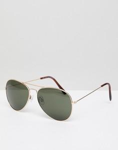 Золотистые солнцезащитные очки-авиаторы New Look - Золотой