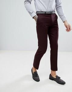Бордовые фланелевые брюки слим с добавлением шерсти Harry Brown - Красный