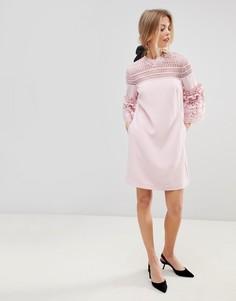 Платье А-силуэта с кружевными вставками Ted Baker Lucila - Розовый