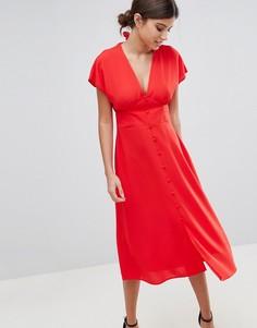 Платье миди на пуговицах с бантом на спине ASOS - Оранжевый