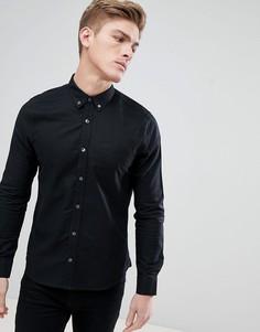 Черная оксфордская рубашка с длинными рукавами Burton Menswear - Черный
