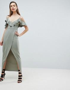 Платье макси с открытыми плечами и запахом Ivyrevel - Зеленый
