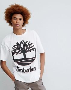 Белая оversize-футболка с крупным логотипом в стиле 90-х Timberland - Белый