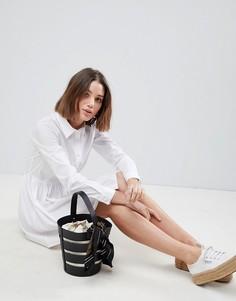 Белое хлопковое платье-рубашка мини ASOS DESIGN - Белый