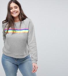 Свитшот с разноцветными полосками ASOS CURVE - Серый