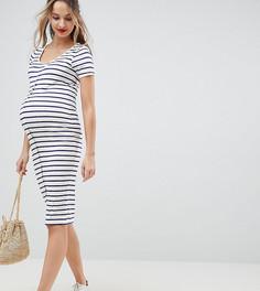 Облегающее платье миди в полоску на кнопках эксклюзивно для ASOS DESIGN Maternity - Мульти