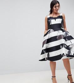 Приталенное платье в полоску с цветочным принтом Coast Plus - Белый