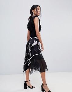 Мягкая юбка миди с принтом Coast - Мульти
