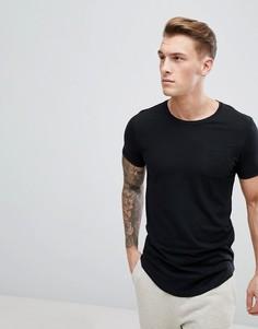 Удлиненная футболка с асимметричным подолом Produkt - Черный
