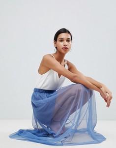 Сетчатая юбка макси Love - Синий