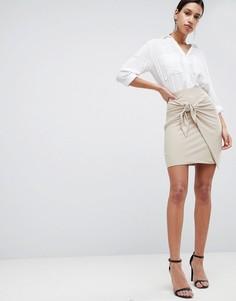 Облегающая юбка с декоративным узлом Love - Бежевый