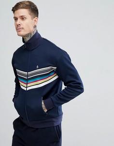 Темно-синяя спортивная куртка с шевронообразными радужными полосками и логотипом Original Penguin - Темно-синий