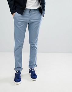 Синие узкие эластичные брюки чинос с принтом Original Penguin - Синий