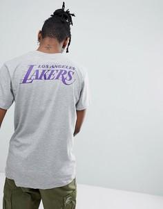 Серая футболка с принтом на спине New Era NBA Los Angeles Lakers - Серый