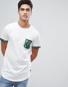 Футболка с асимметричным краем и принтом на кармане Jack & Jones Originals - Белый