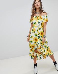 Чайное платье миди на пуговицах с открытыми плечами и принтом подсолнухов Kiss The Sky - Желтый
