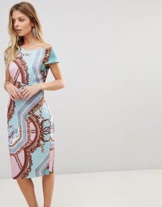 Облегающее платье с принтом Ted Baker - Синий
