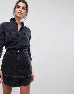 Джинсовое платье-рубашка с верхним слоем в виде юбки Diesel - Кремовый