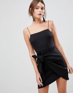 Платье мини с запахом и бантом ASOS - Черный